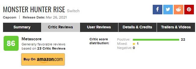 《怪物猎人:崛起》媒体评分解禁 M站均分86