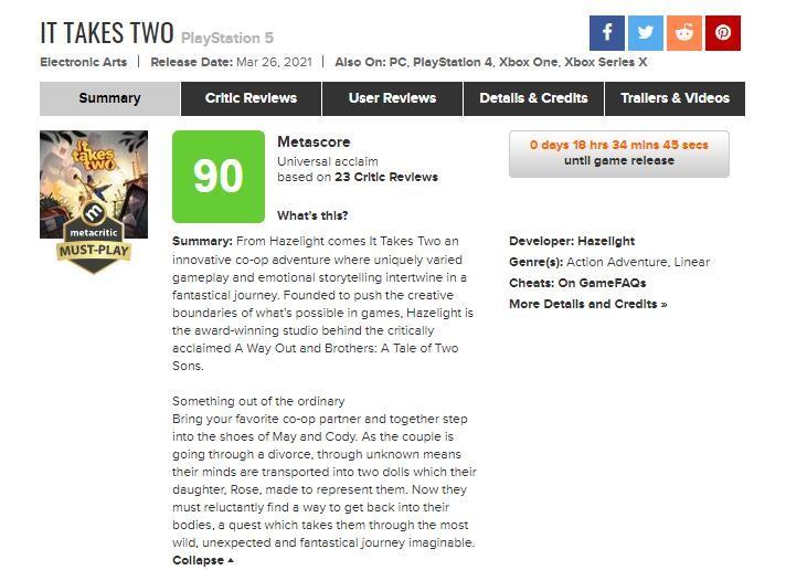 《双人成行》媒体评分解禁 PS5版MC均分高达90