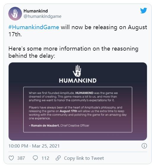 为保证游戏品质 历史策略大作《人类》延期至