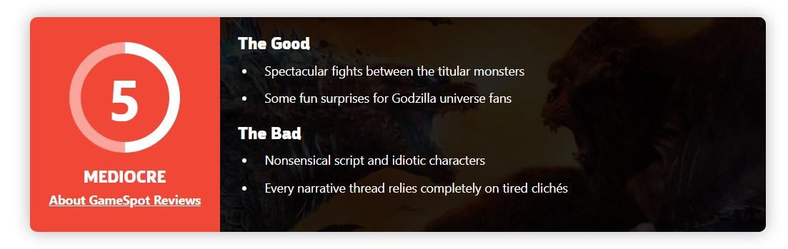 《哥斯拉大战金刚》IGN 7分/GS 5分:巨兽打架完美/乏善可陈