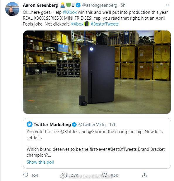 推特最具影响力品牌投票开启 Xbox赢了会生产迷你冰箱