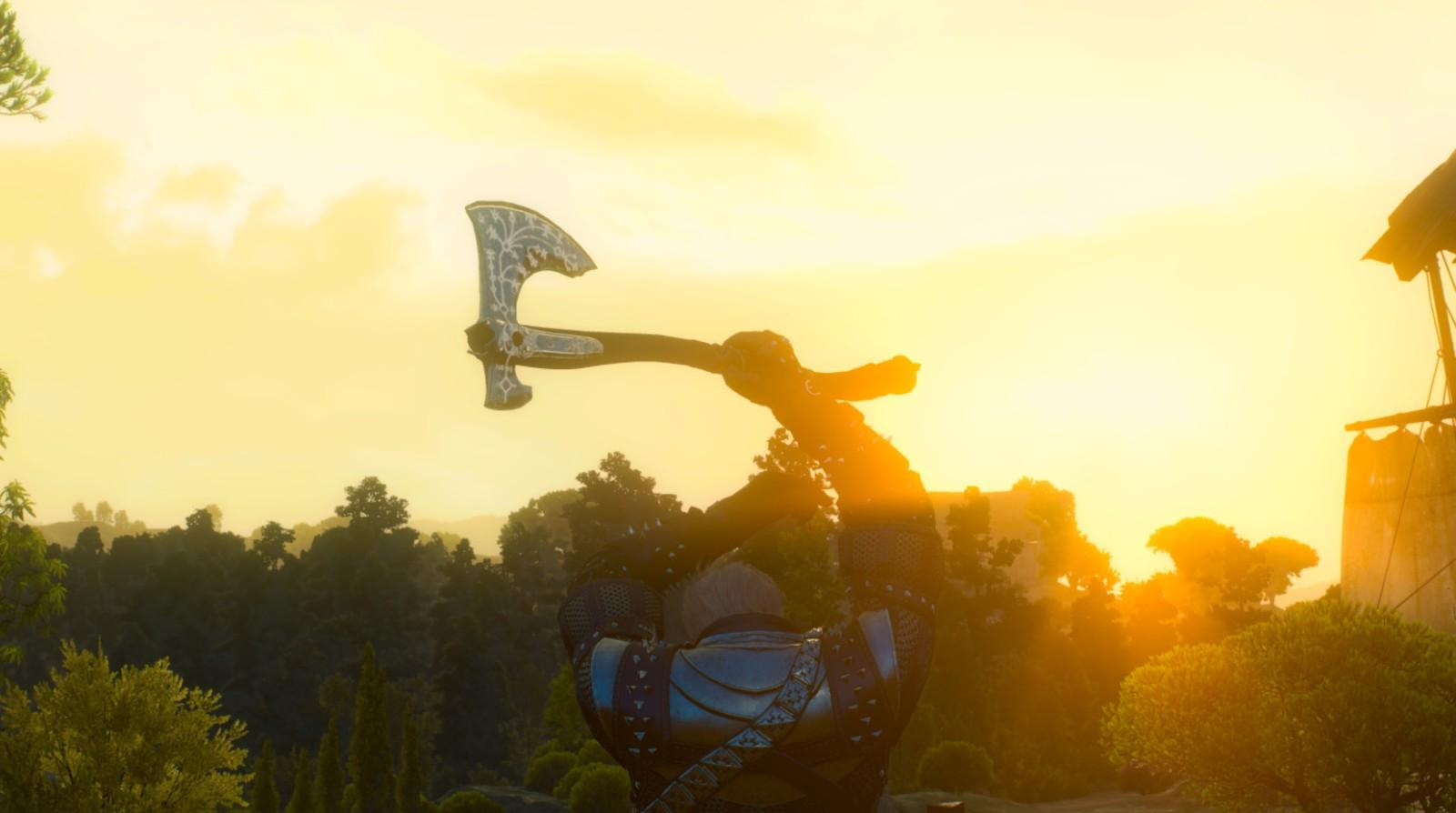 《巫师3》新MOD 白狼用上《战神4》利维坦之斧