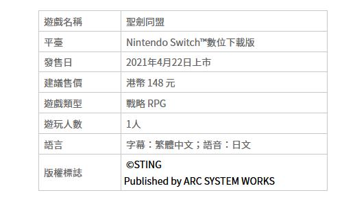 战略RPG《圣剑同盟》NS繁中下载版预定于4月22日上市