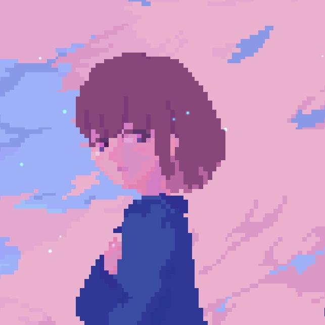 《Wallpaper Engine》像素风分钟的蓝衫少女动态壁纸