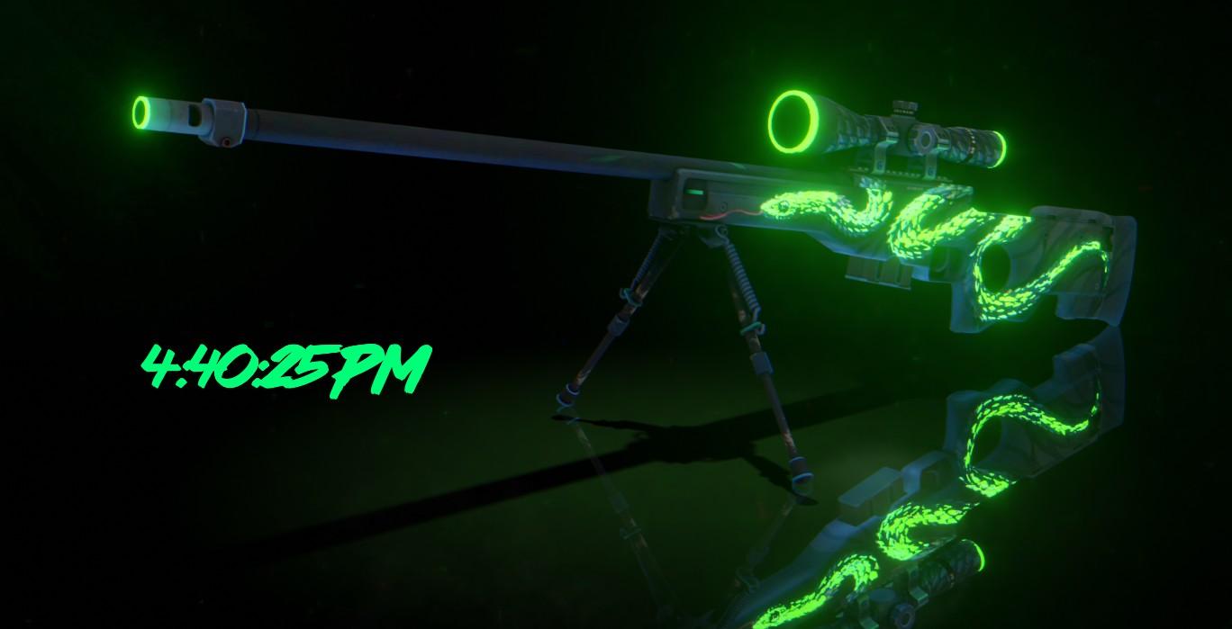 《Wallpaper Engine》绿蟒AWP狙击步枪记时动态壁纸
