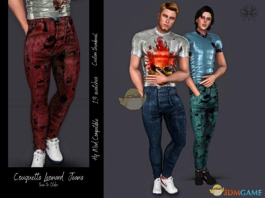 《模拟人生4》男士宽松的帅气牛仔裤MOD