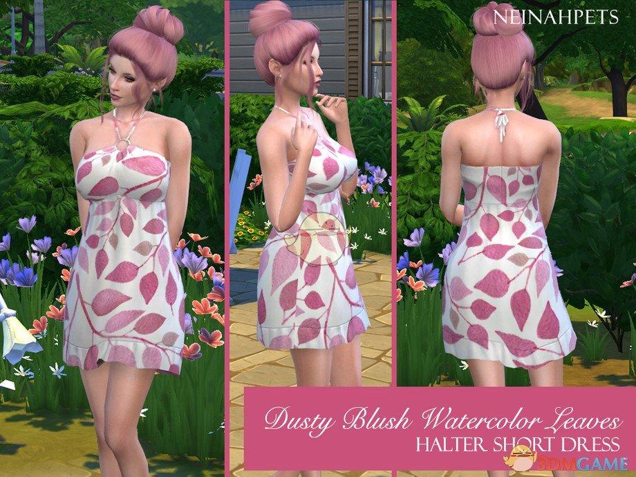 《模拟人生4》粉红树叶吊带连衣裙MOD