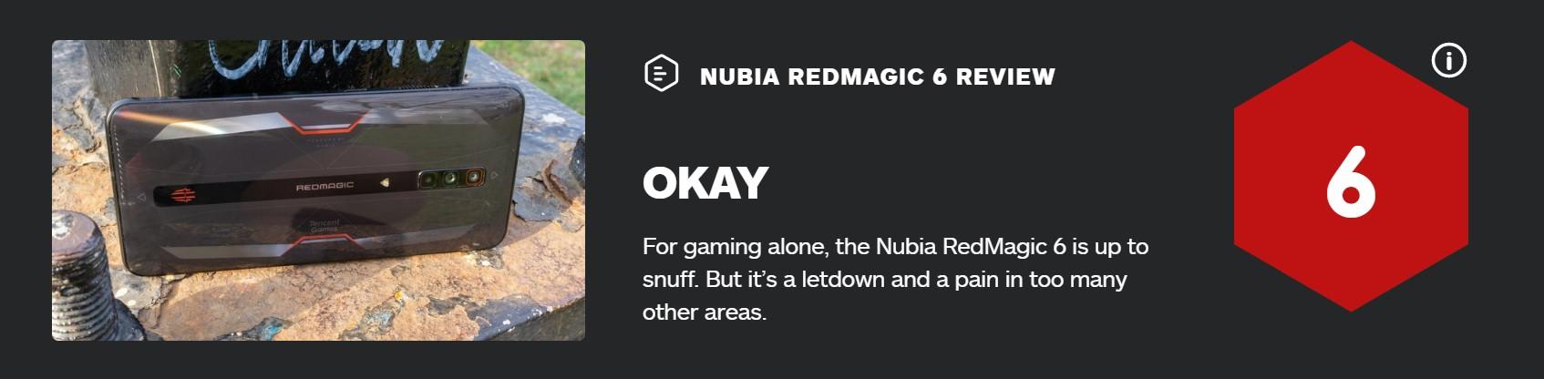 腾讯红魔游戏手机6 IGN 6分:游戏很强 其他拉胯