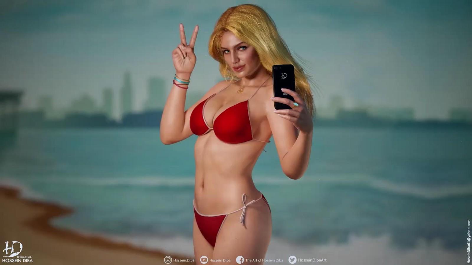 《侠盗猎车5》封面女郎3D模型 比基尼美女性感自拍