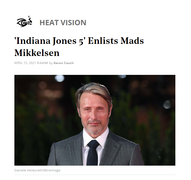 """""""拔叔""""麦斯·米科尔森确认参演《夺宝奇兵5》 与哈里森同框"""