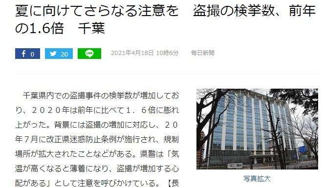日本千叶县警调2020年手机偷拍事件剧增为前年1.6倍