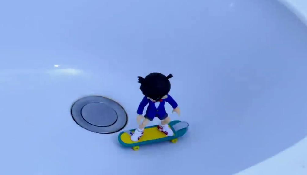 日本定格动画高手最新作品 柯南极限滑板玩的溜