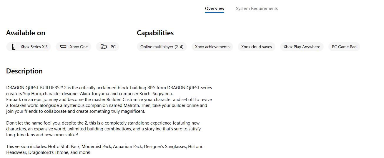 微软商城透露《勇者斗恶龙创世小玩家2》5月4日登陆Xbox One