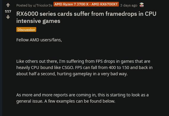 AMD镭龙RX 6000系列显卡高帧率游戏或出现卡顿问题