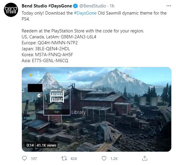 PS4《往日不再》动态主题今日免费领取