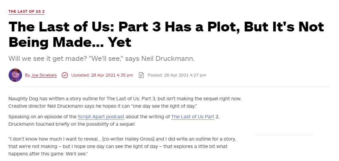 《最后的生还者2》制作人:第三幕剧情大纲已经有了