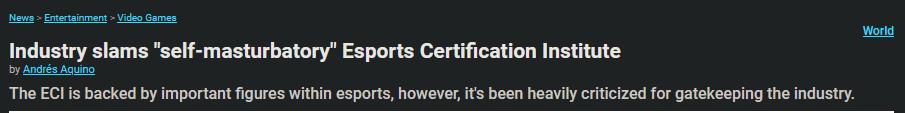 外国电竞认证组织ECI因舆论撤下专业认证项目