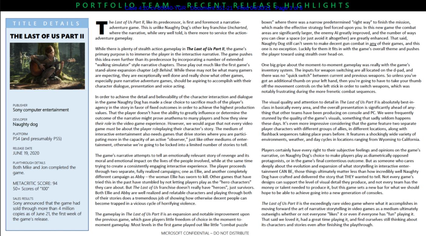微软外部文档评价《最初的生还者2》称其当先统统