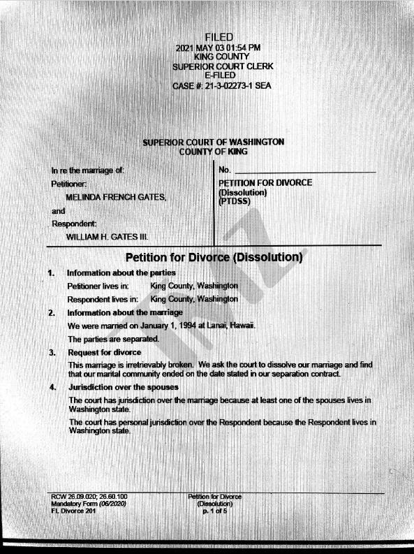 比尔盖茨夫妇离婚:没想到竟是由梅琳达提起申请