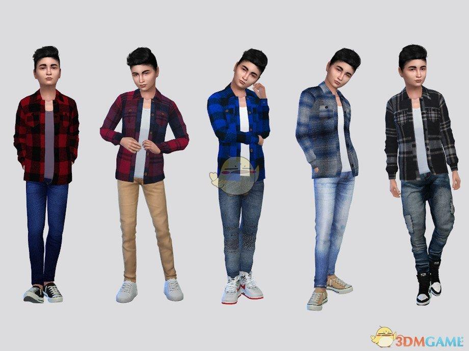 《模拟人生4》小男孩经典格子衬衫MOD
