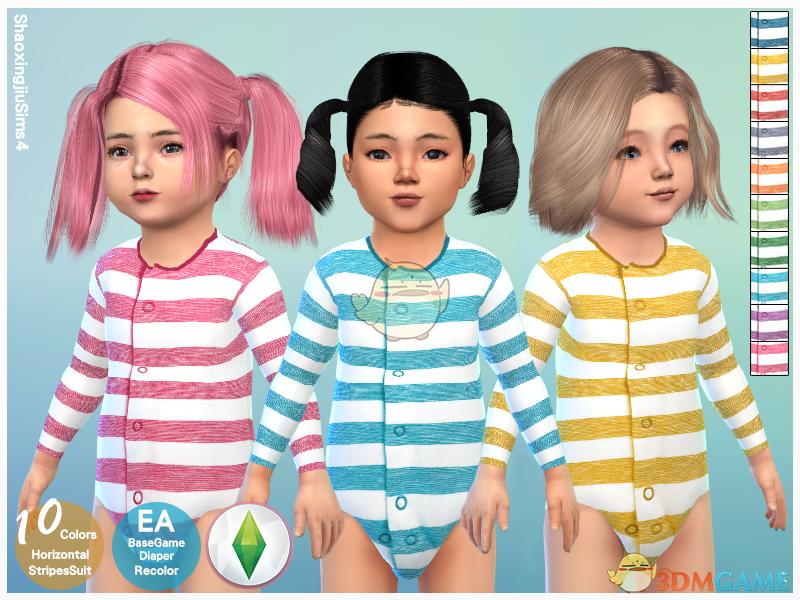《模拟人生4》幼儿可爱条纹睡衣MOD