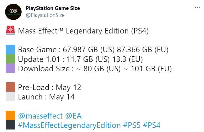 PS5/PS4版《质量效应:传奇版》容量超级大 最高达101GB