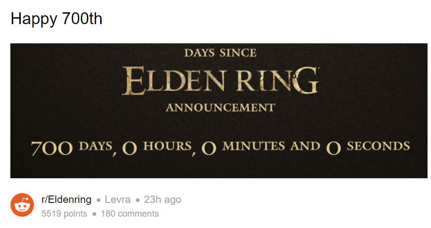 宫崎英高的《Elden Ring》已经公布700天了
