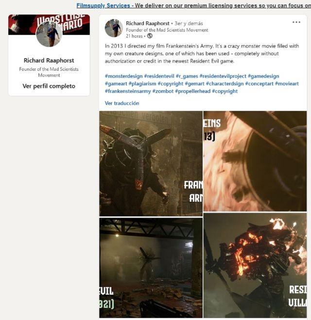 恐怖片导演称《生化危机8》怪物造型抄袭其电影