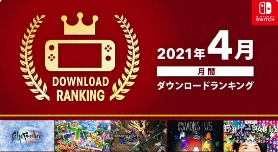 任天堂公布Switch平台4月下载排行 《怪猎:崛起》登顶
