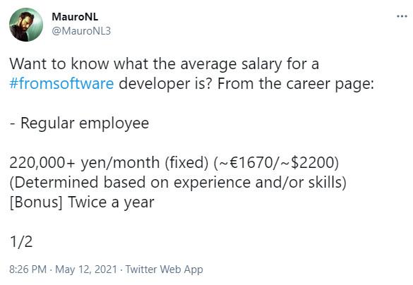 FromSoftware员工薪资待遇公开: 概念美术月薪仅勉强万元