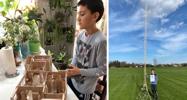12岁美国男孩动手高玩 冰糕棍搭建6米高塔创吉尼斯纪录