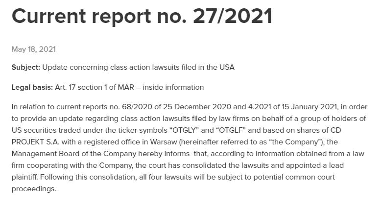 针对《赛博朋克2077》的四起诉讼合并为一起大型诉讼