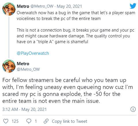 《守望先锋》出现致命漏洞 可使玩家电脑崩溃