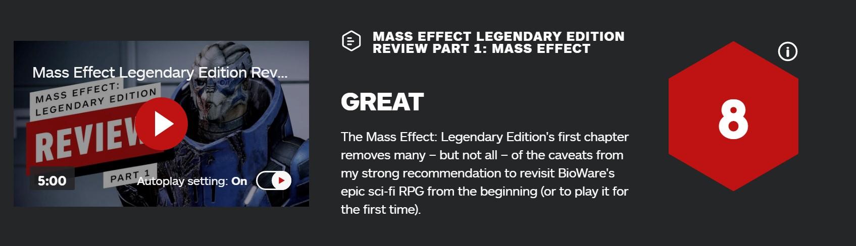 《质量效应:传奇版》第一章IGN 8分:强烈建议游玩