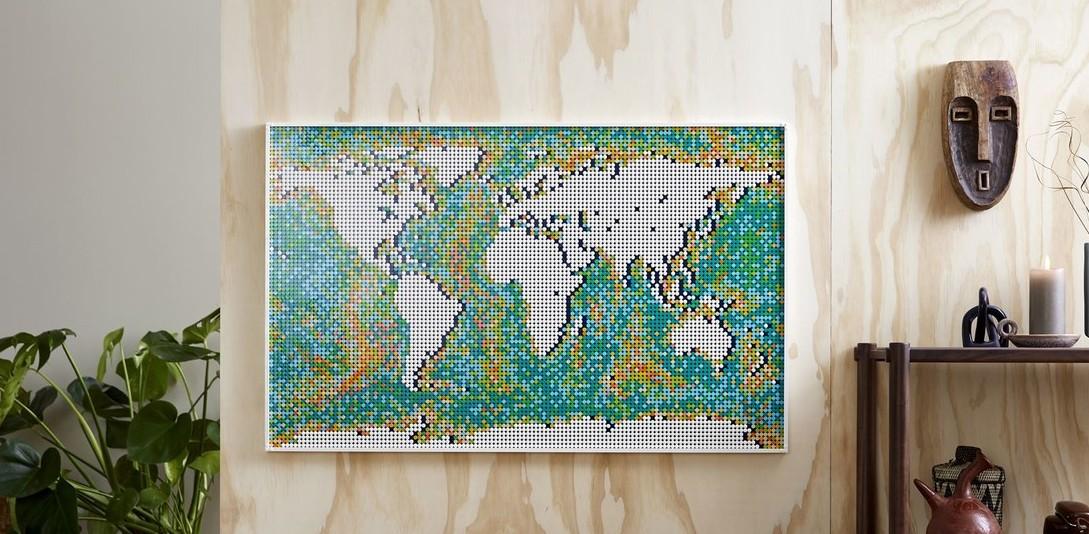 乐高史上最多零件世界地图公开 像素密集拼接不易
