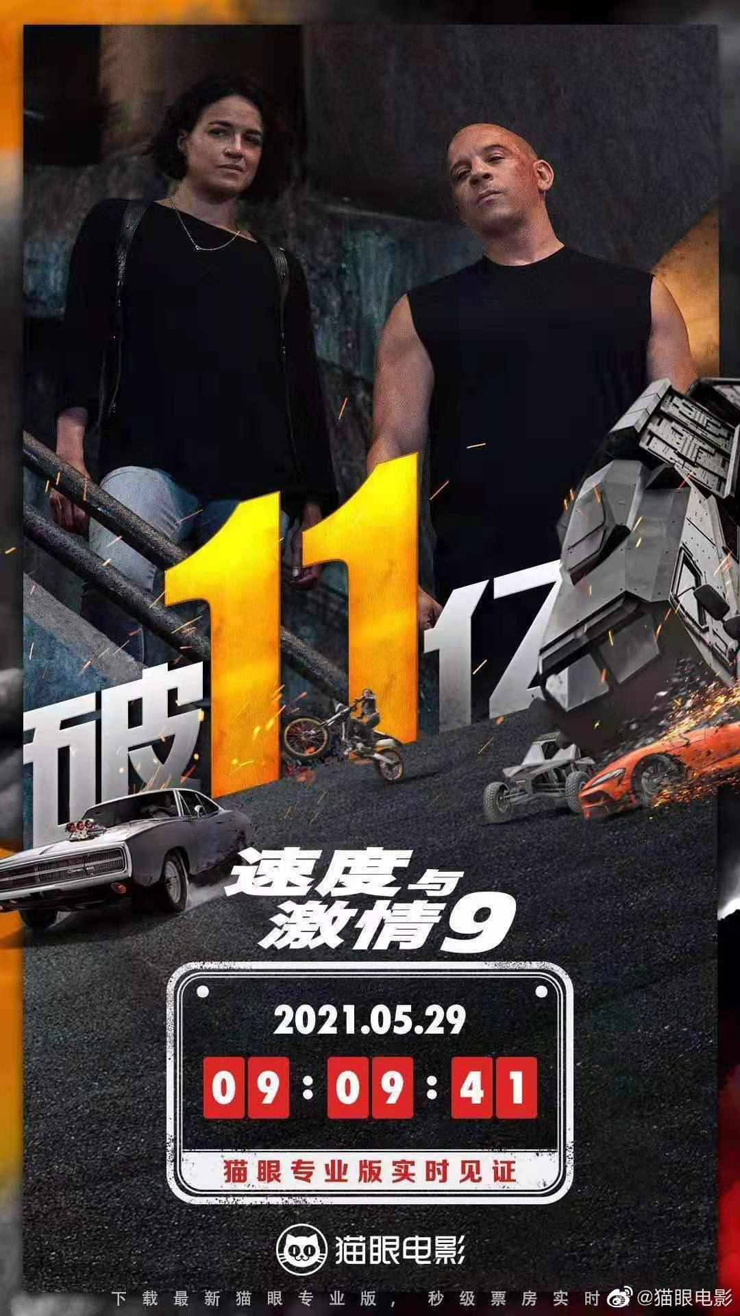 上映9天 《速度与激情9》国内票房突破11亿元