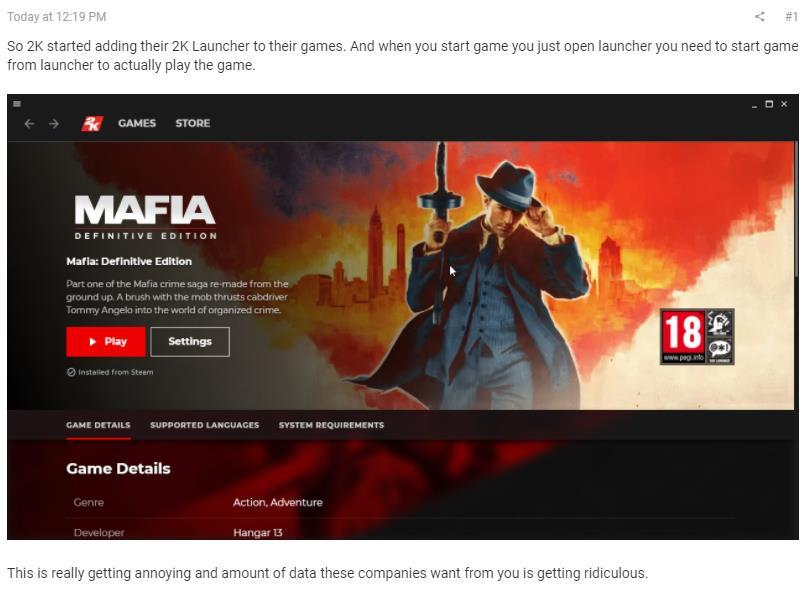 Steam的2K旗下游戏现需启动器启动 玩家群体不买账