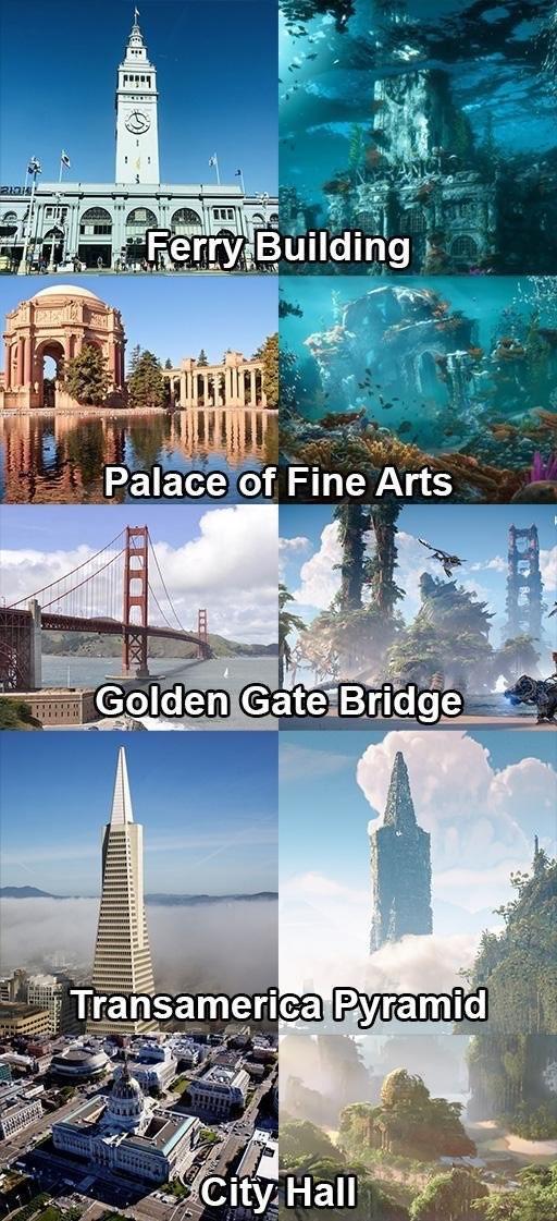 末日重现 《地平线:西部禁域》西部地点和现实世界对比