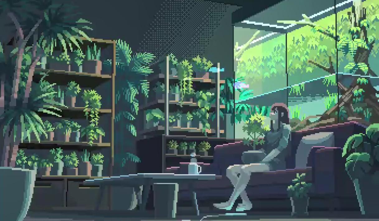 《Wallpaper Engine》充满植物的房间像素风动态壁纸