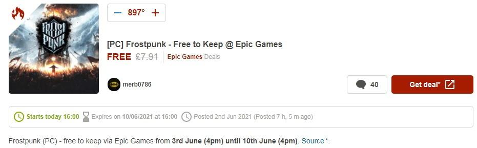 Epic喜加一疑似泄露 今晚免费领取《冰汽时代》
