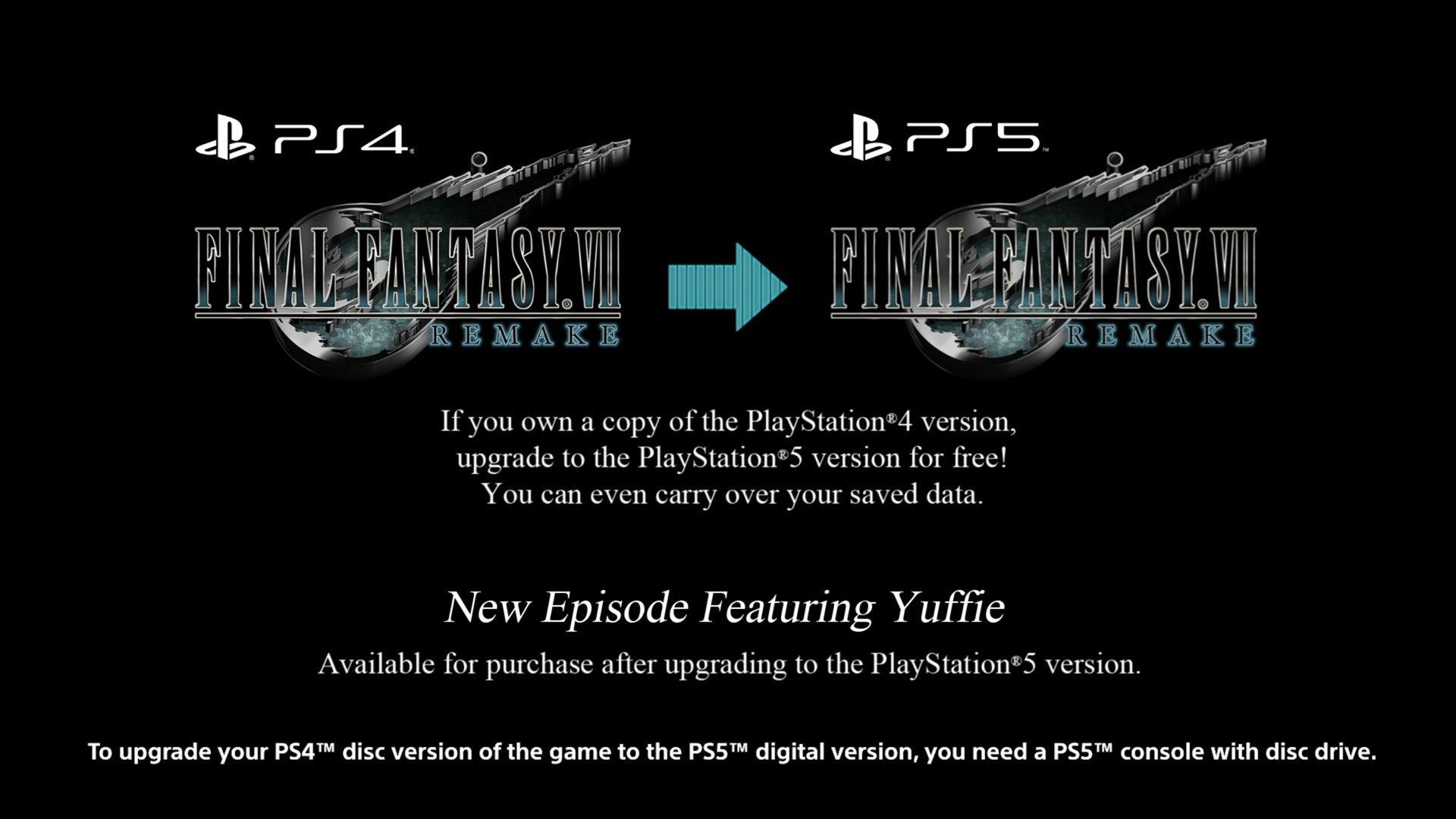 《最终幻想7:重制版》发布最新更新 PS4存档奖杯可同步至PS5