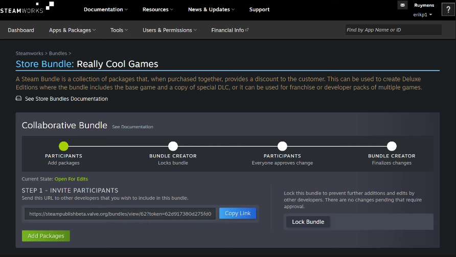 "Steam推出面向开发者新功能""合作性捆绑包""  允许跨开发发行商游戏捆绑"