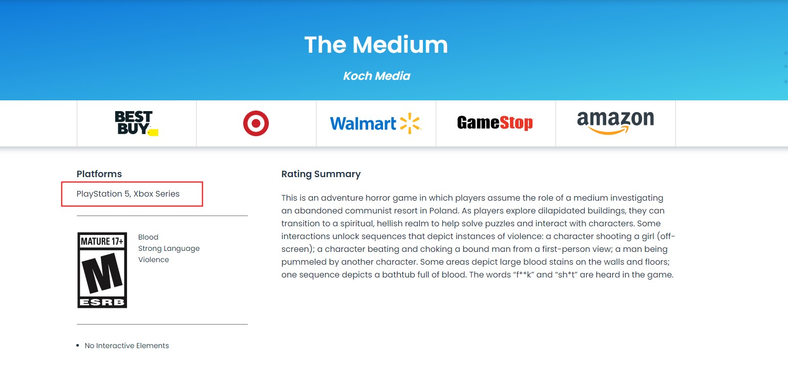 评级信息显示微软独占游戏《灵媒》或登陆PS5