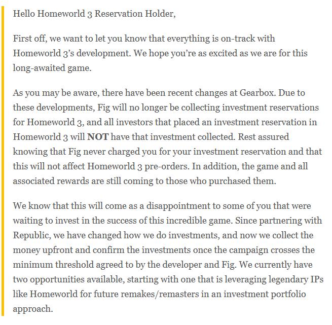 《家园3》奇怪众筹计划已被取消 游戏开发未受影响