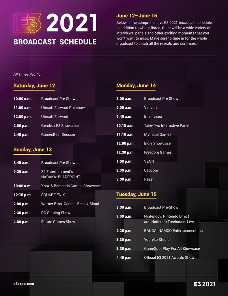 E3 2021发表会汇总:6月11日凌晨2点开始