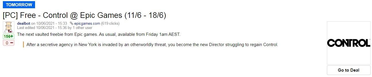 Epic喜加一疑似泄露 今晚免费领取大作《控制》