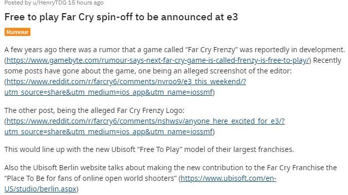 传言:育碧将在E3展上发布免费游戏《孤岛惊魂:疯狂》