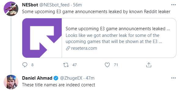 E3 2021:有内鬼?疑似部分E3展名单被泄露