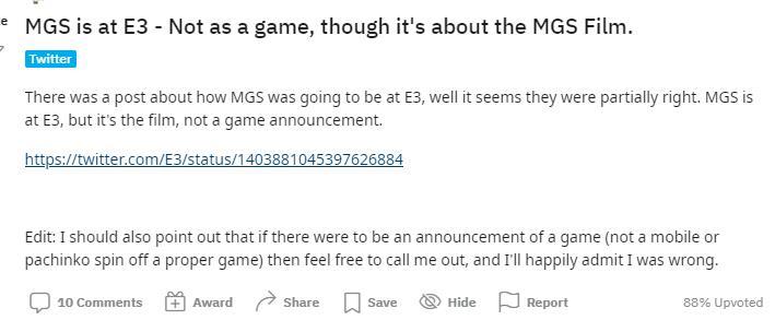 E3泄露《合金装备》电影将上映 或将在E3上发布预告