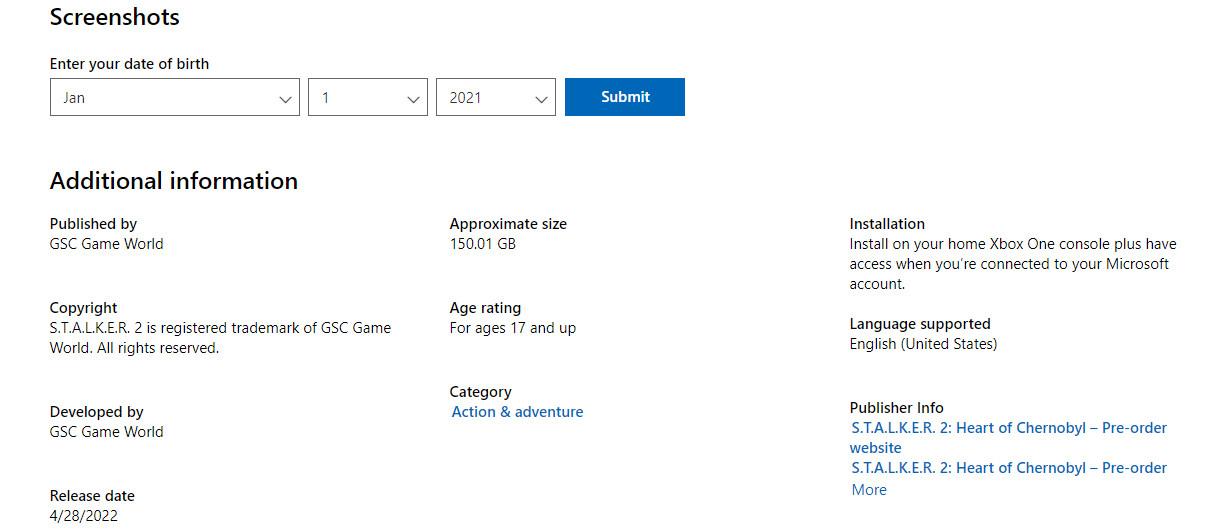 《潜行者2》需要150GB PC配置推荐RTX 2070S